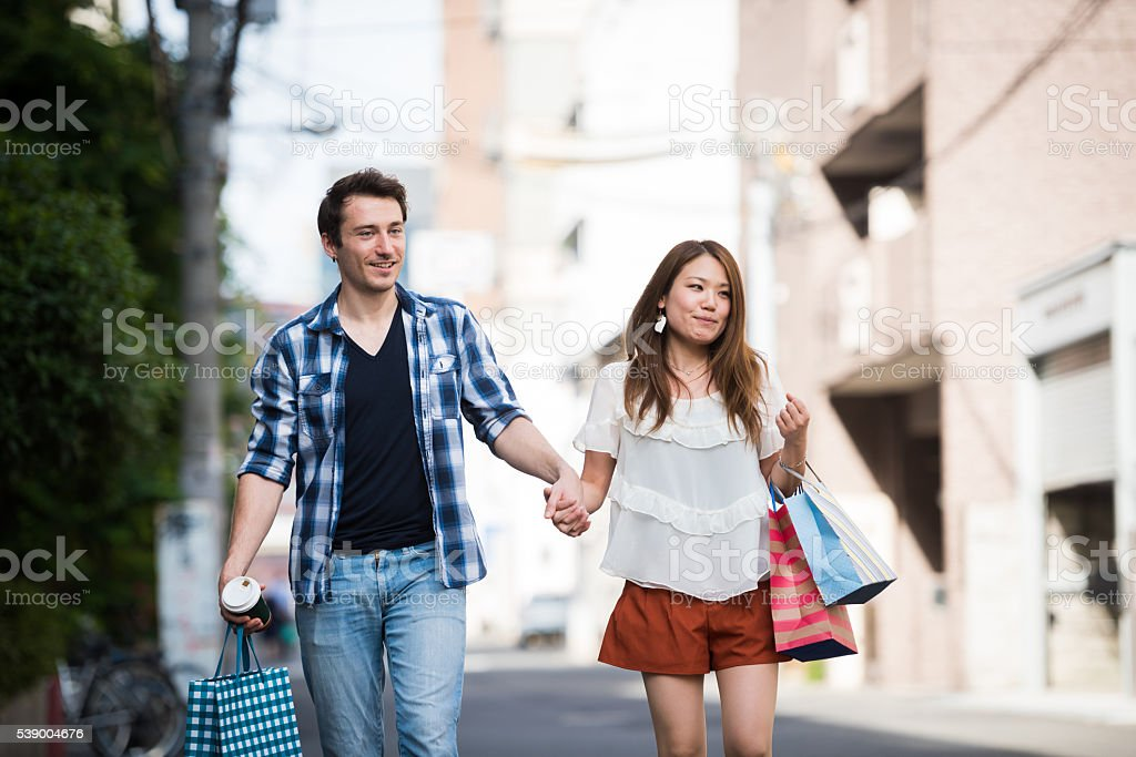 Young couple on a date stock photo
