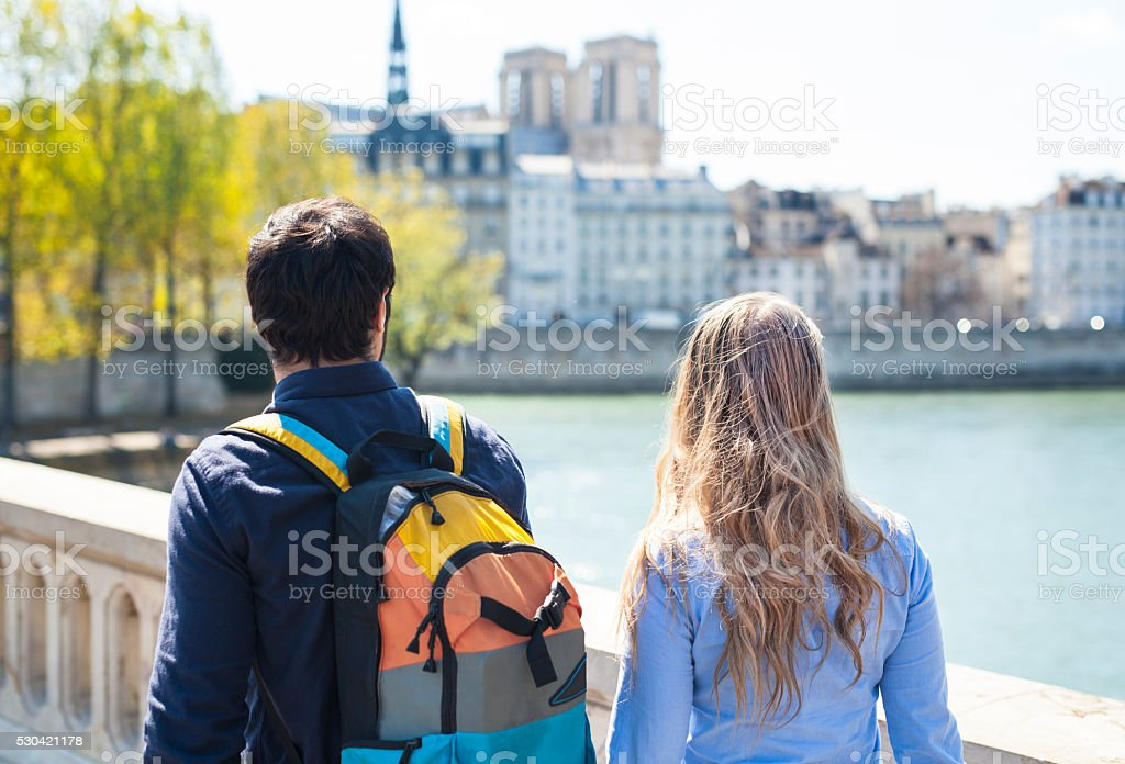 Young Couple on a Trip Exploring Europe Together stock photo