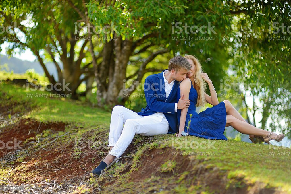 Young couple on a tropical island stock photo