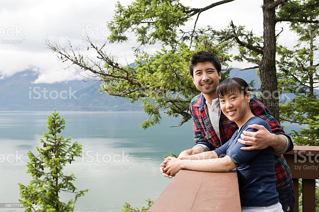 Young couple on balcony royalty-free stock photo