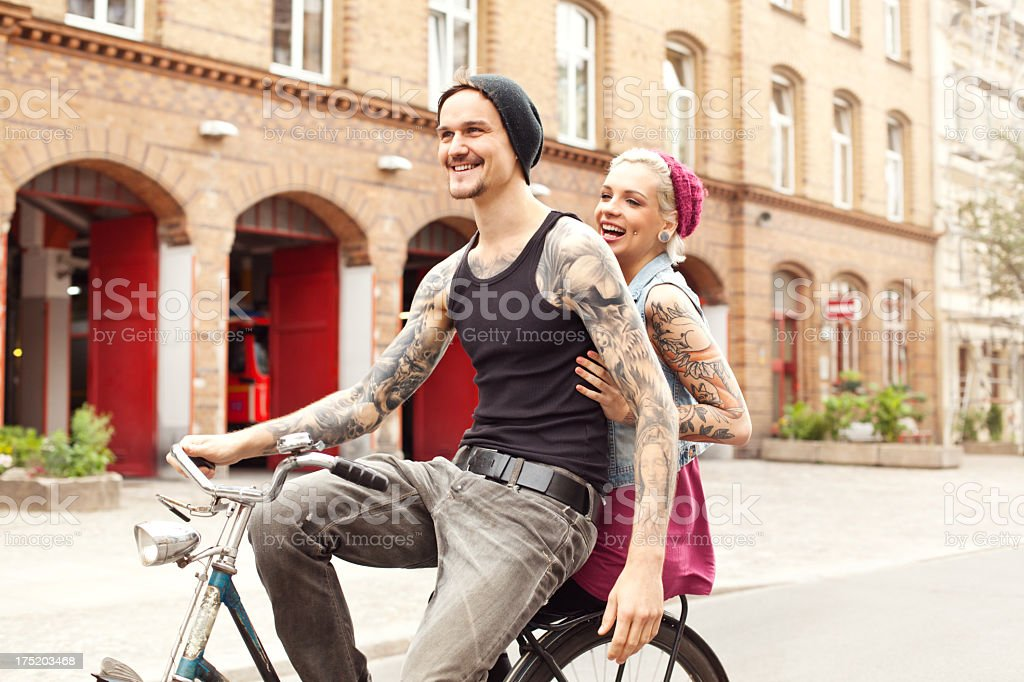 Young couple on bicycle royalty-free stock photo