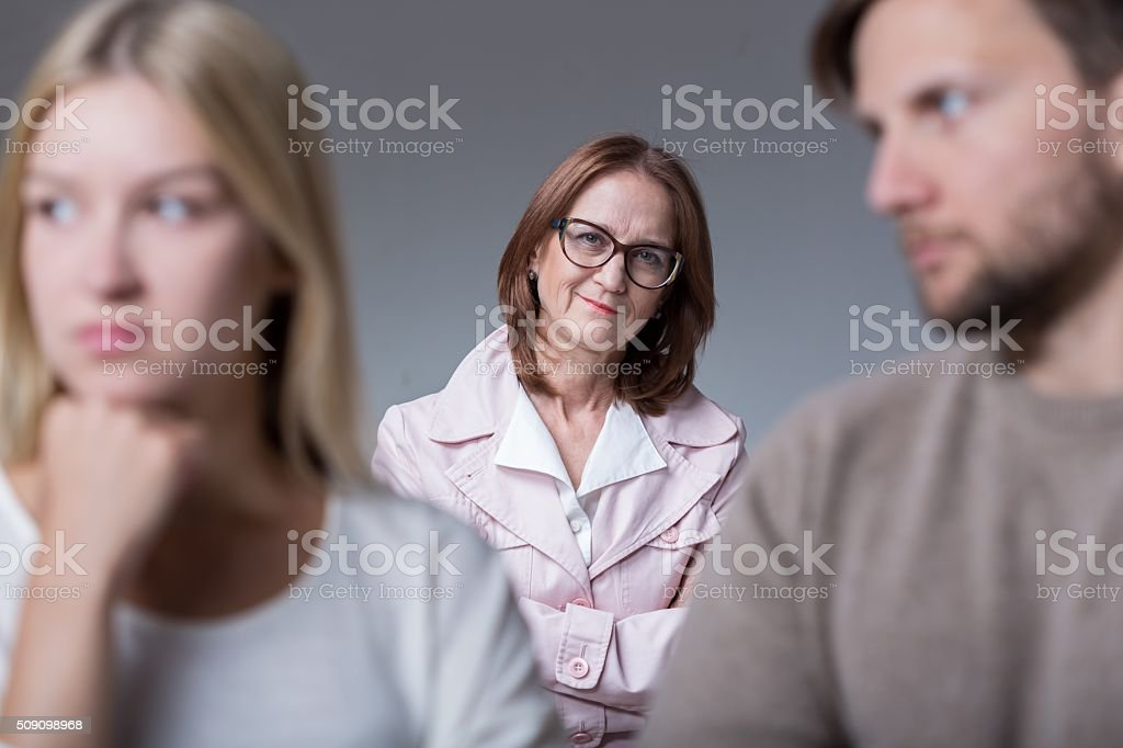 Young couple on marital therapy stock photo