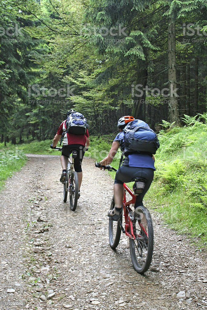 Young couple on mountainbikes # 3 royalty-free stock photo