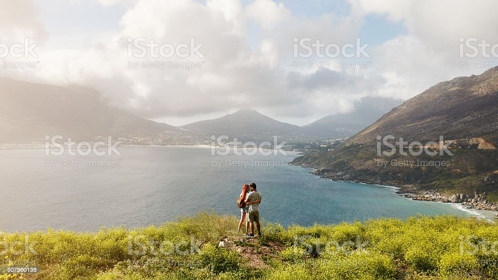 Young couple on romantic summer vacation. stock photo