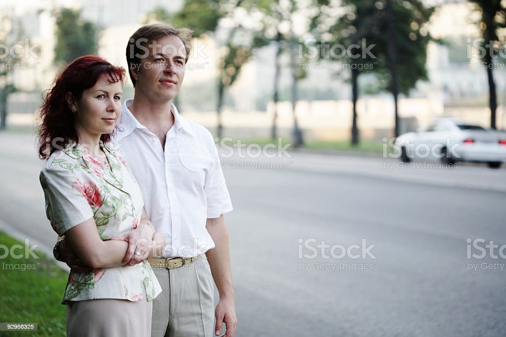 young couple on street royalty-free stock photo