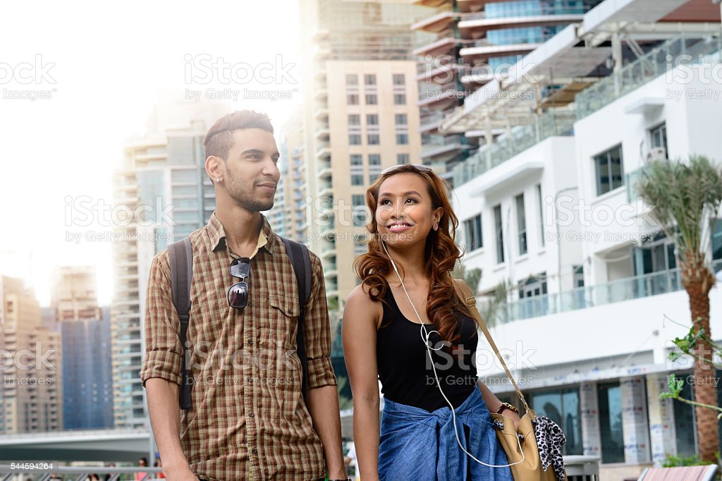 Young couple on vacation in Dubai stock photo