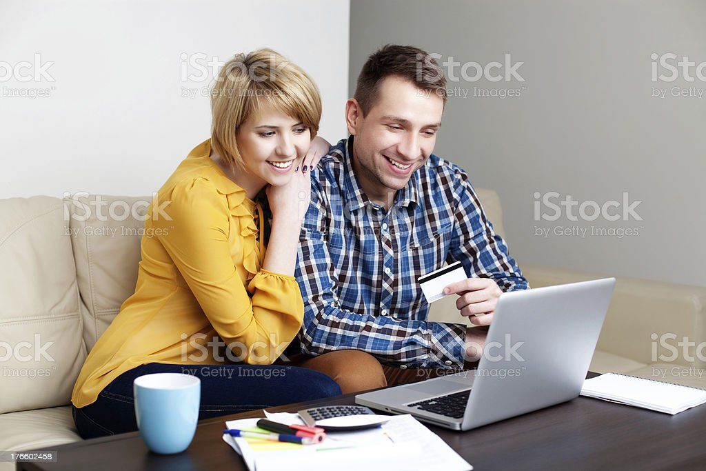 Young couple online shopping stock photo
