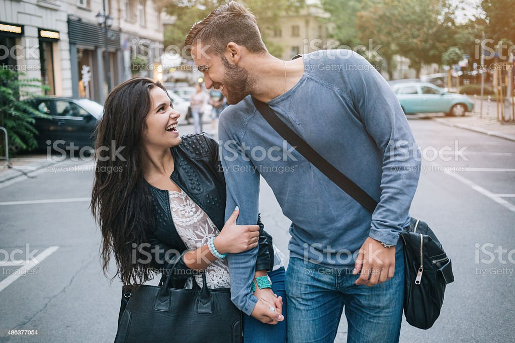 Young couple out for a walk stock photo