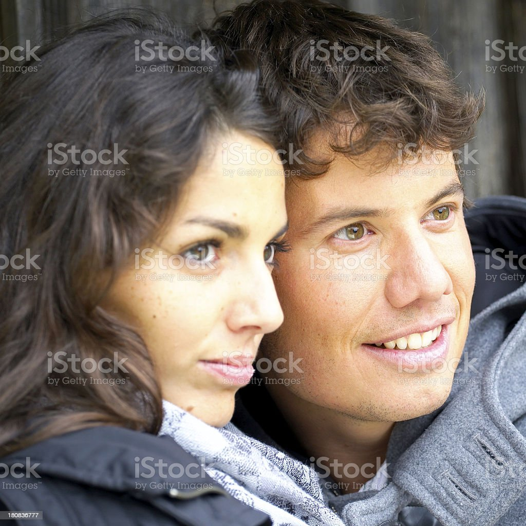 young couple outdoors in autumn stock photo