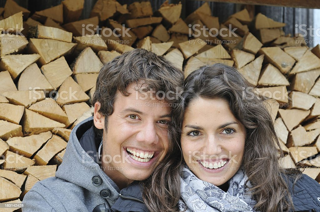 Young couple outdoors portrait stock photo