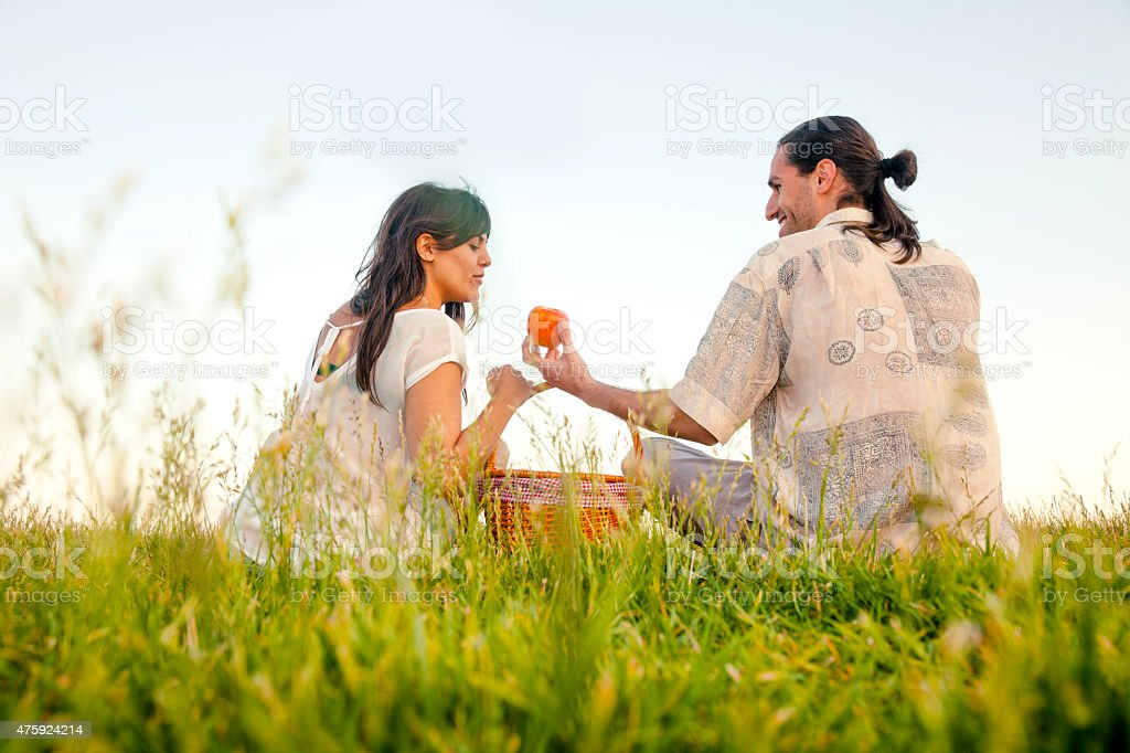 Young couple picnic stock photo