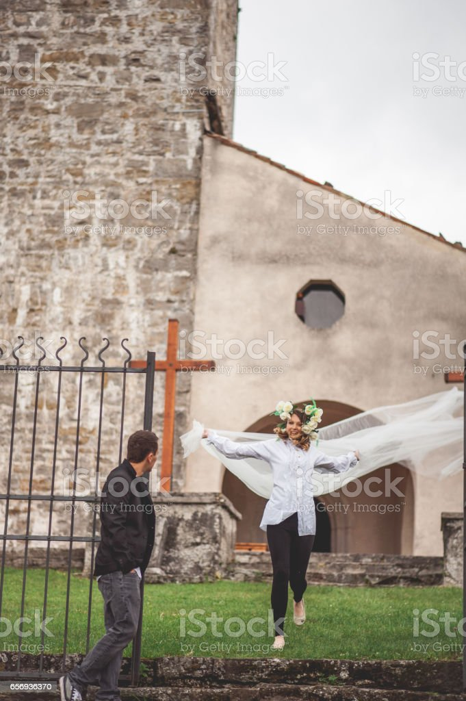Young Couple Planning Traditional Wedding stock photo