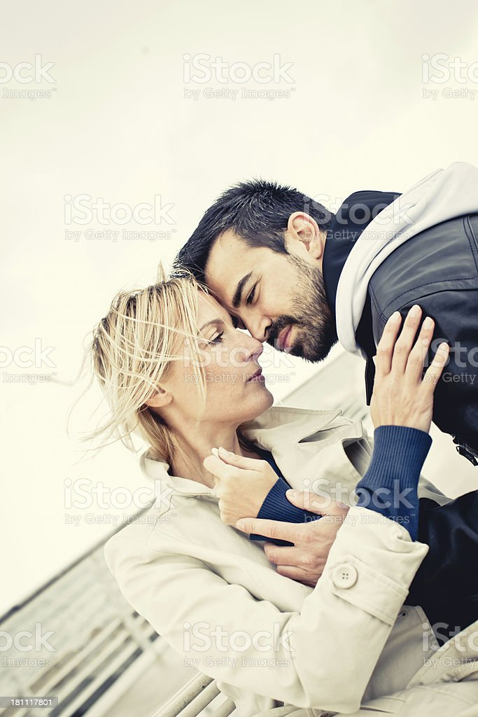 Young couple portrait outdoors royalty-free stock photo