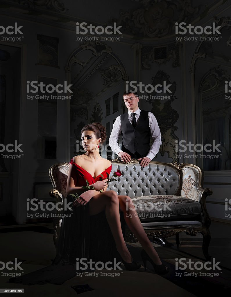 Young couple portrait with rose flower stock photo