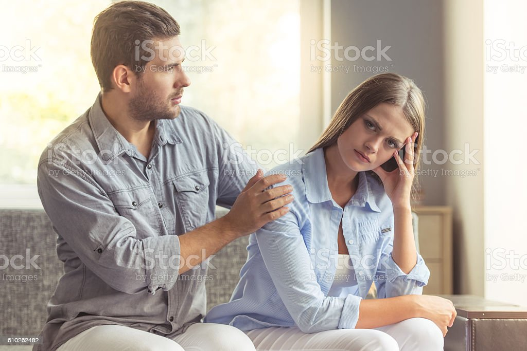 Young couple quarreling stock photo