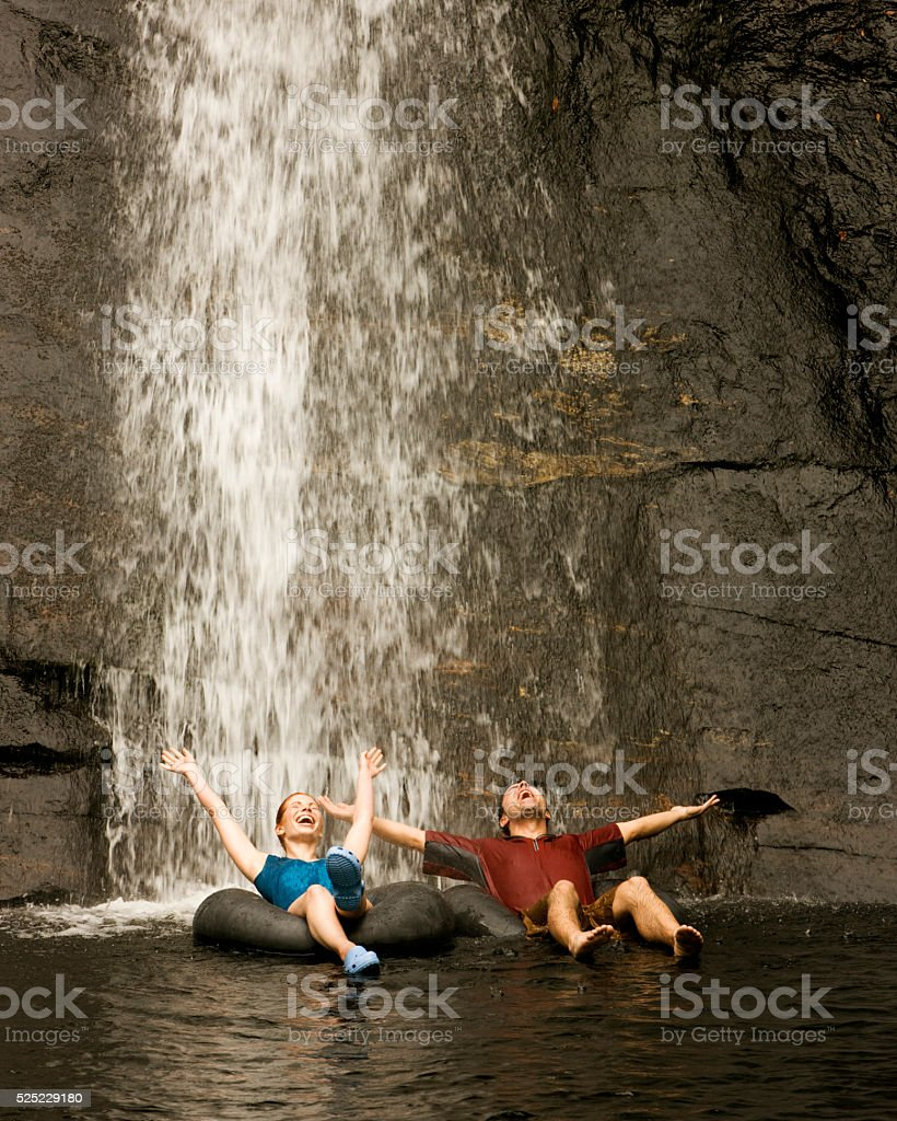 Young Couple Rafting stock photo