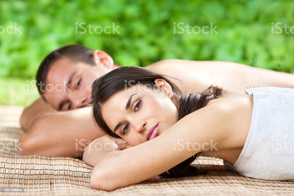 Young Couple Relaxing After Spa Treatment royalty-free stock photo