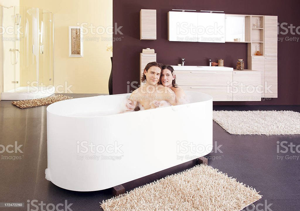 Young couple relaxing in bath royalty-free stock photo