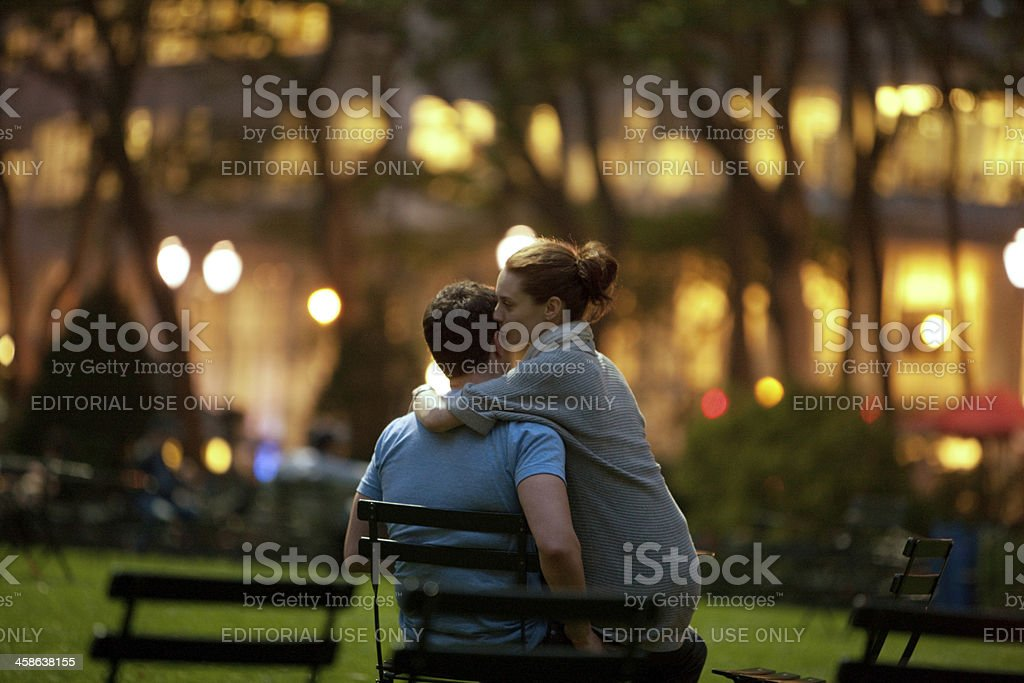 Young Couple relaxing in Bryant Park, New York stock photo