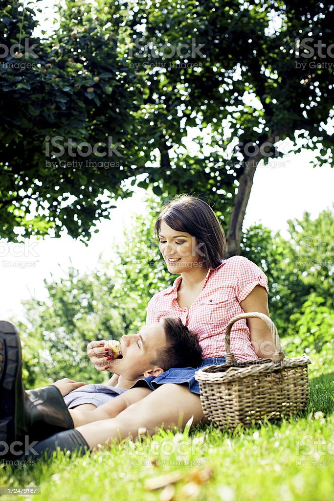 Young couple relaxing outdoors royalty-free stock photo