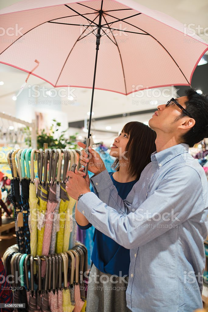 Young couple shopping together stock photo