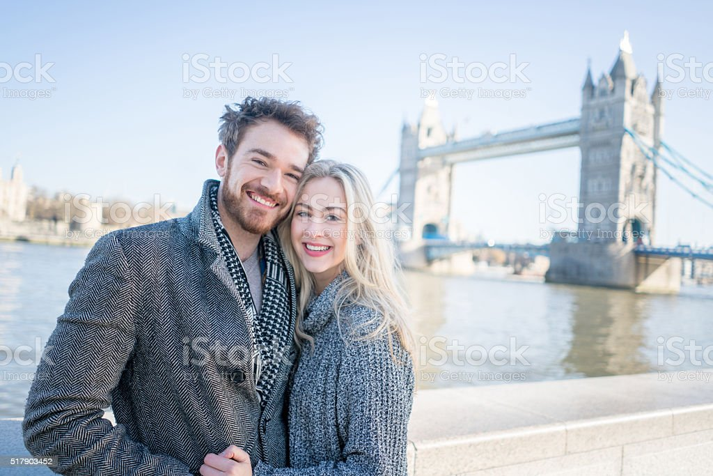 Young couple sightseeing in London stock photo