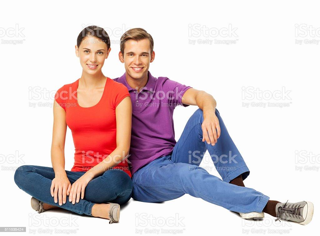 Young Couple Sitting On Floor stock photo