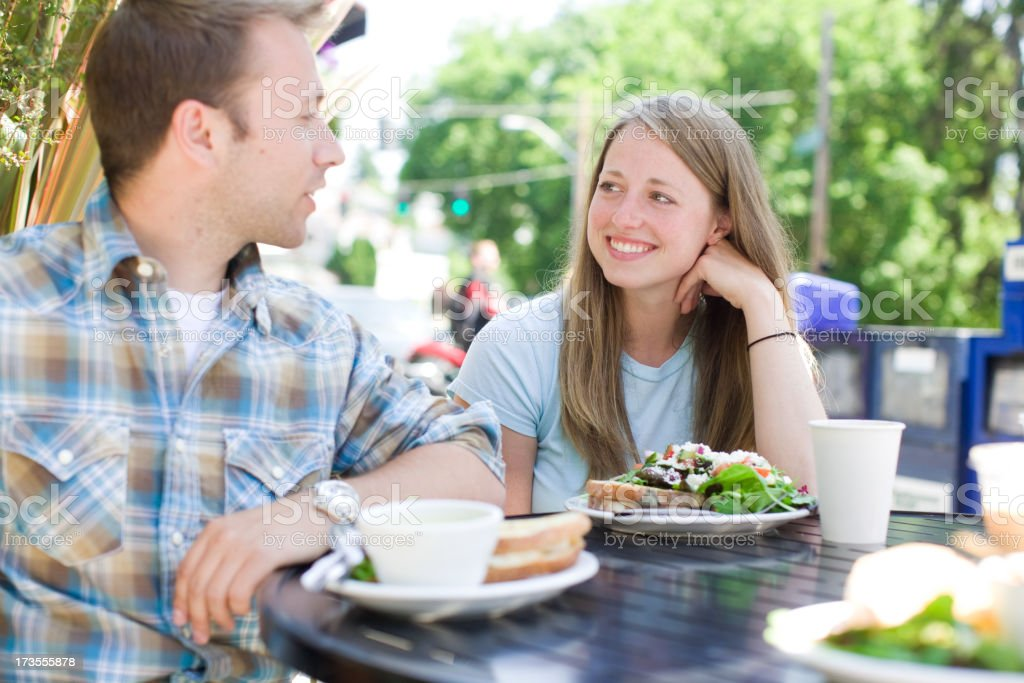 young couple smiling royalty-free stock photo