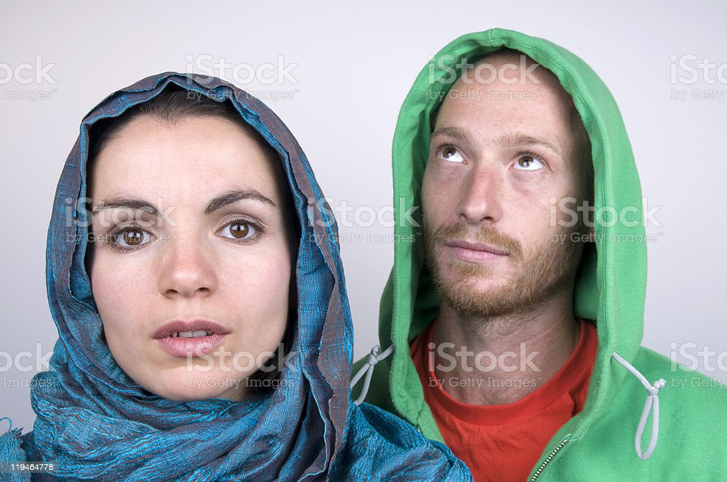 Young Couple So Close And Far Apart royalty-free stock photo