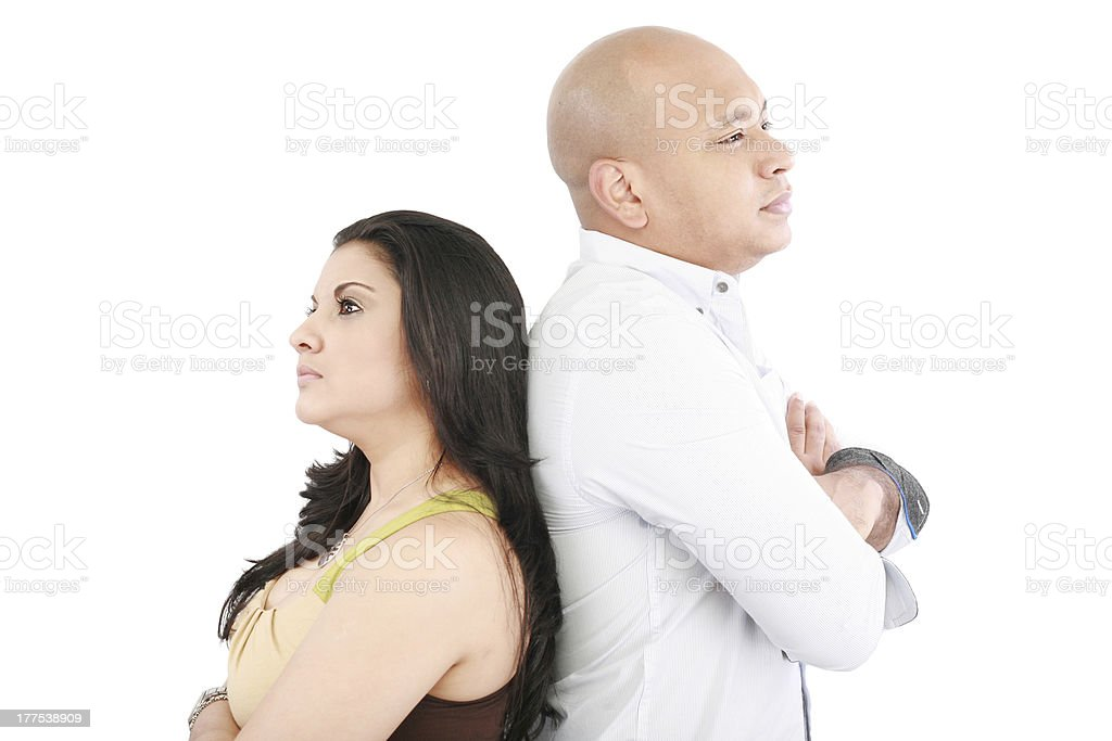 Young couple standing back having relationship difficult royalty-free stock photo
