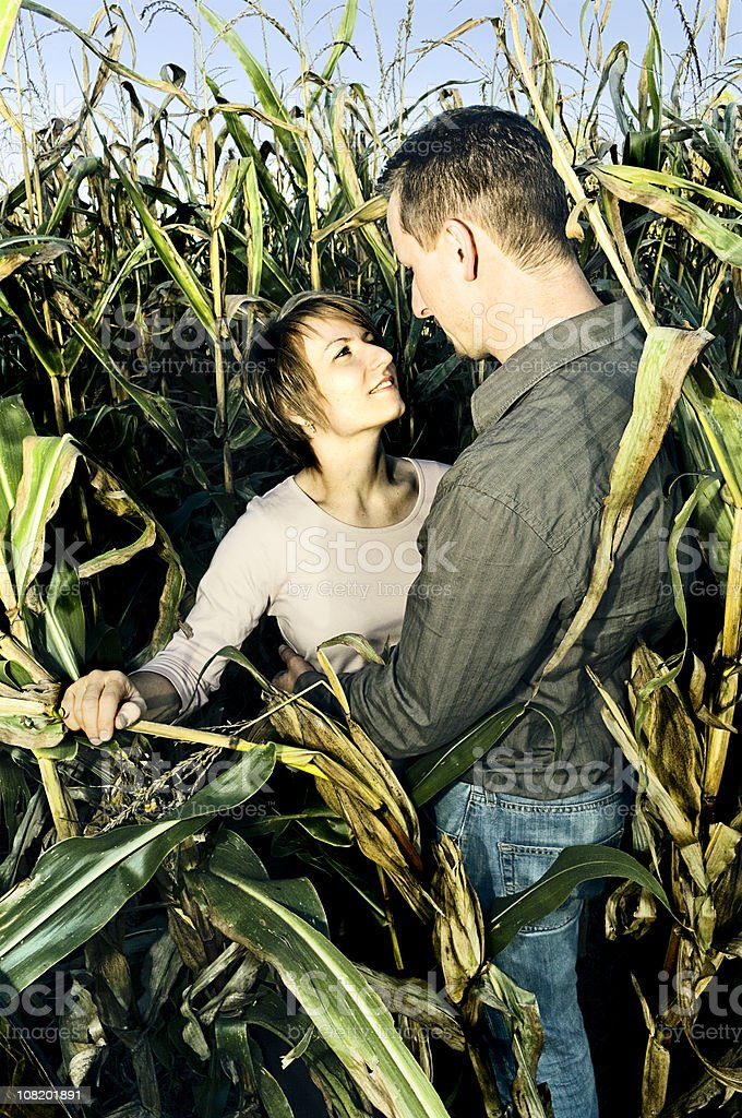 Young Couple Standing in Corn Field stock photo