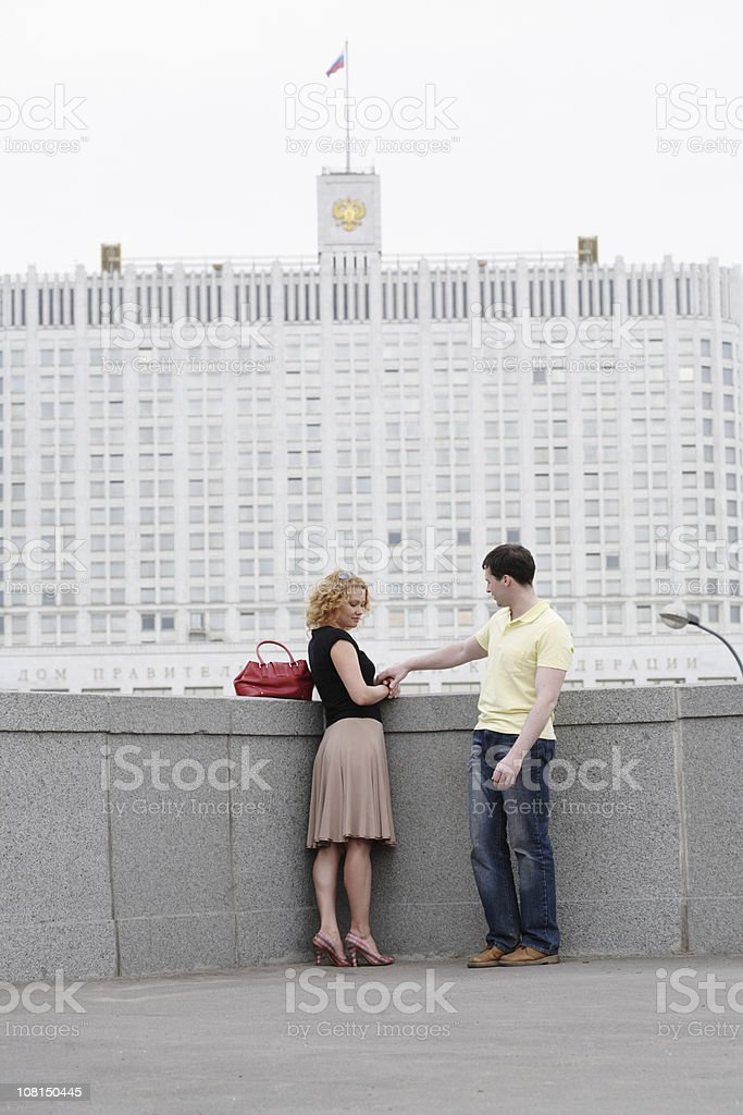 Young Couple Standing Near Russian White House stock photo