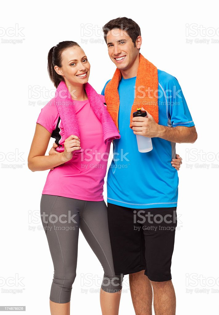 Young Couple Standing Together After Workout - Isolated royalty-free stock photo