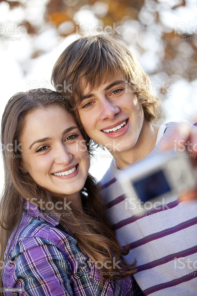 Young couple taking a self portrait royalty-free stock photo