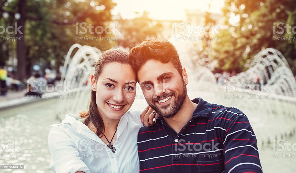 Young couple taking selfie stock photo