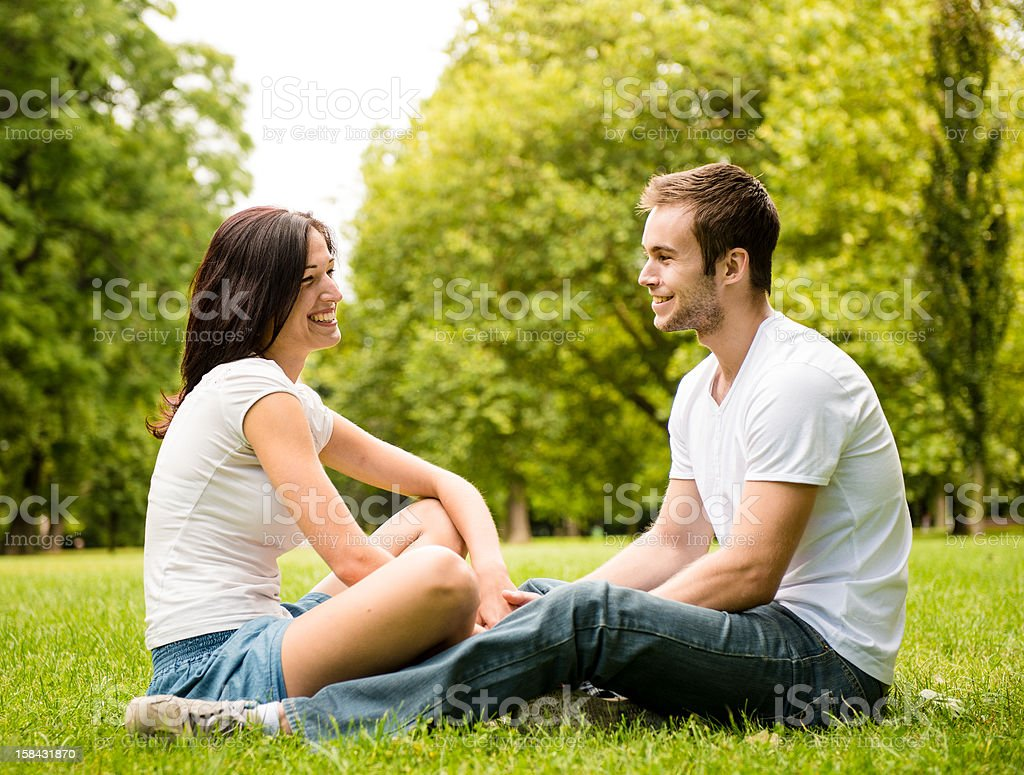 Young couple talking outdoor royalty-free stock photo