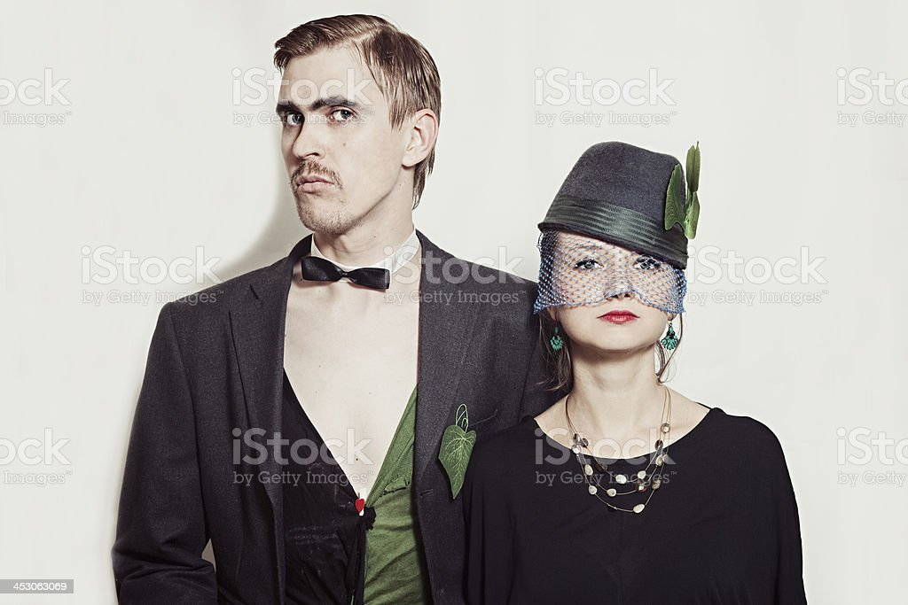Young couple theater actors in a retro style royalty-free stock photo