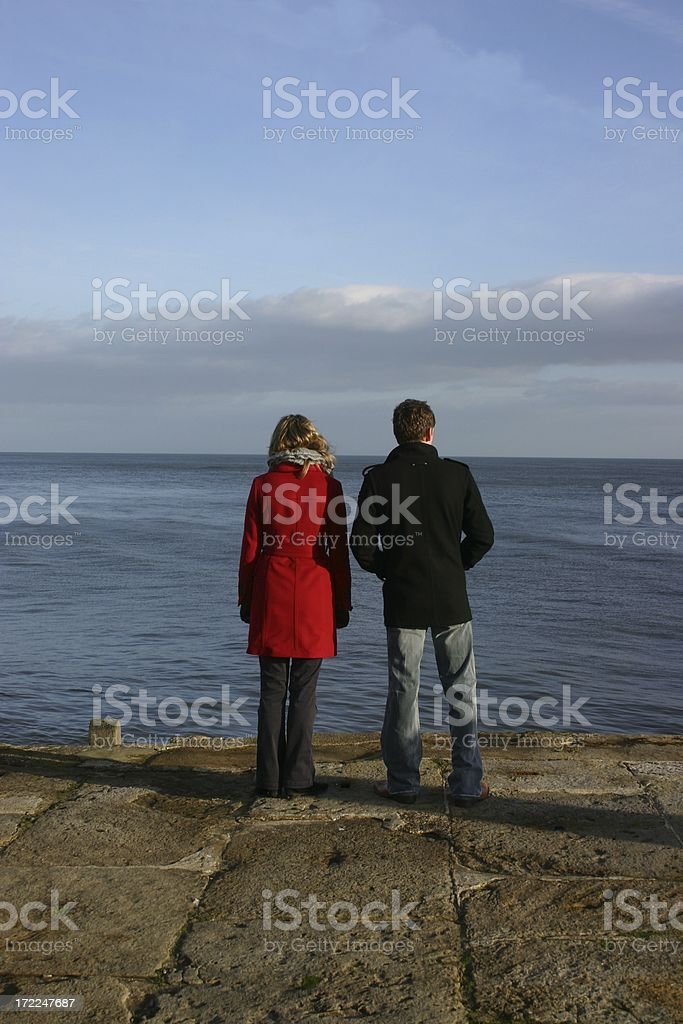 Young couple together but apart royalty-free stock photo