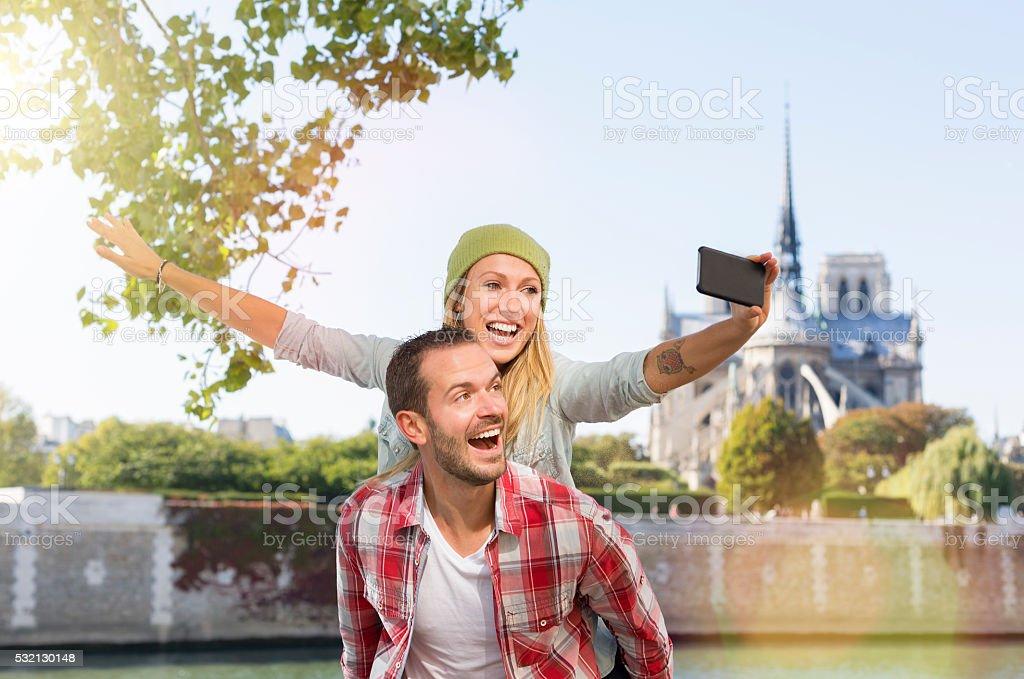 Young Couple visiting paris stock photo