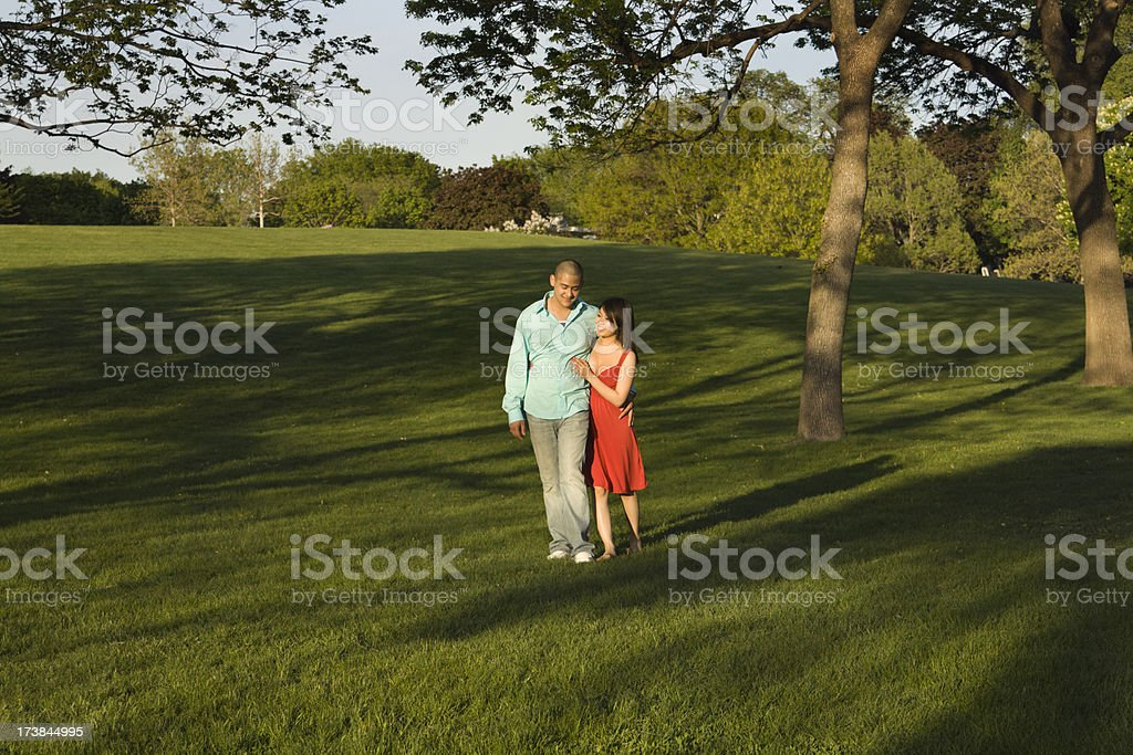 Young Couple Walking in a Grass Meadow royalty-free stock photo