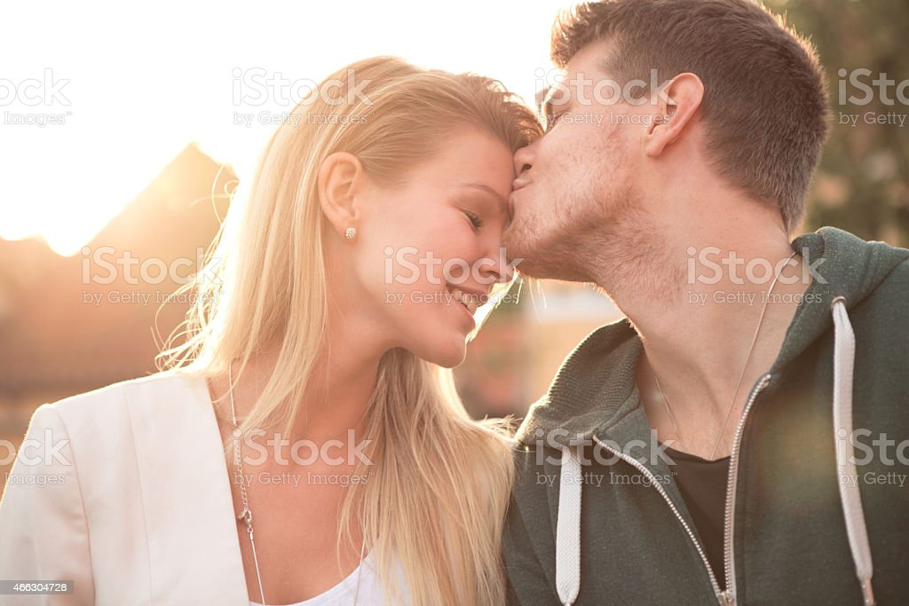 Young couple walking the city. stock photo