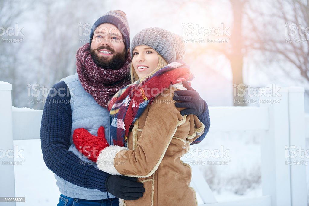 Young couple walking together alfresco stock photo