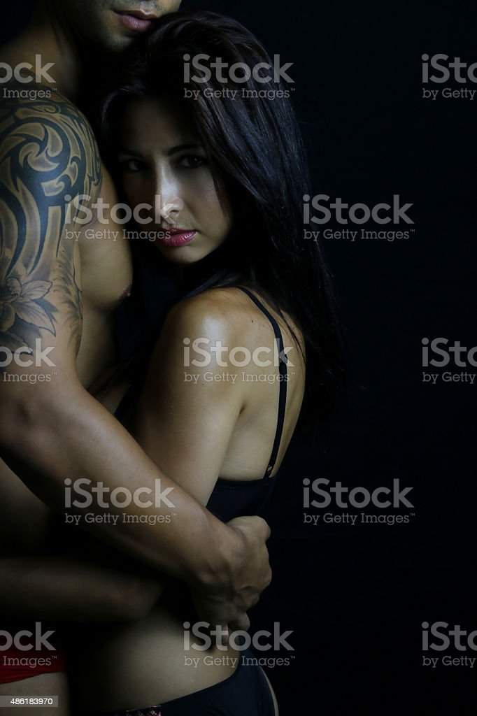Young couple wearing underwear stock photo