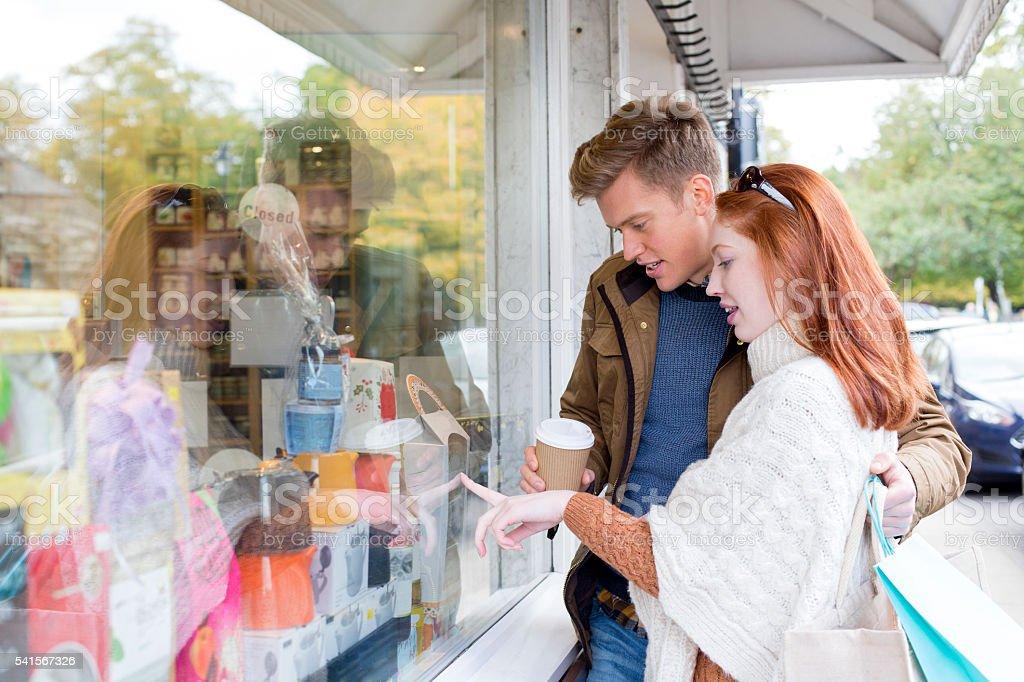 Young Couple Window Shopping stock photo