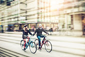 Young couple with bicycle