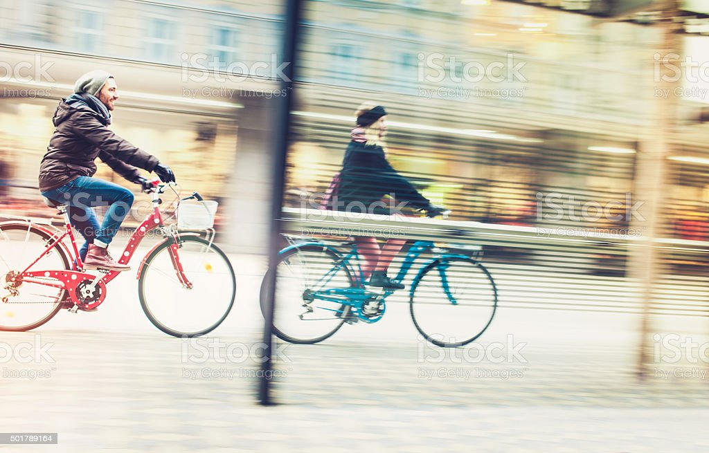 Young couple with bicycle stock photo