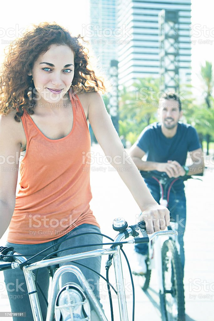 Young couple with bicycles royalty-free stock photo