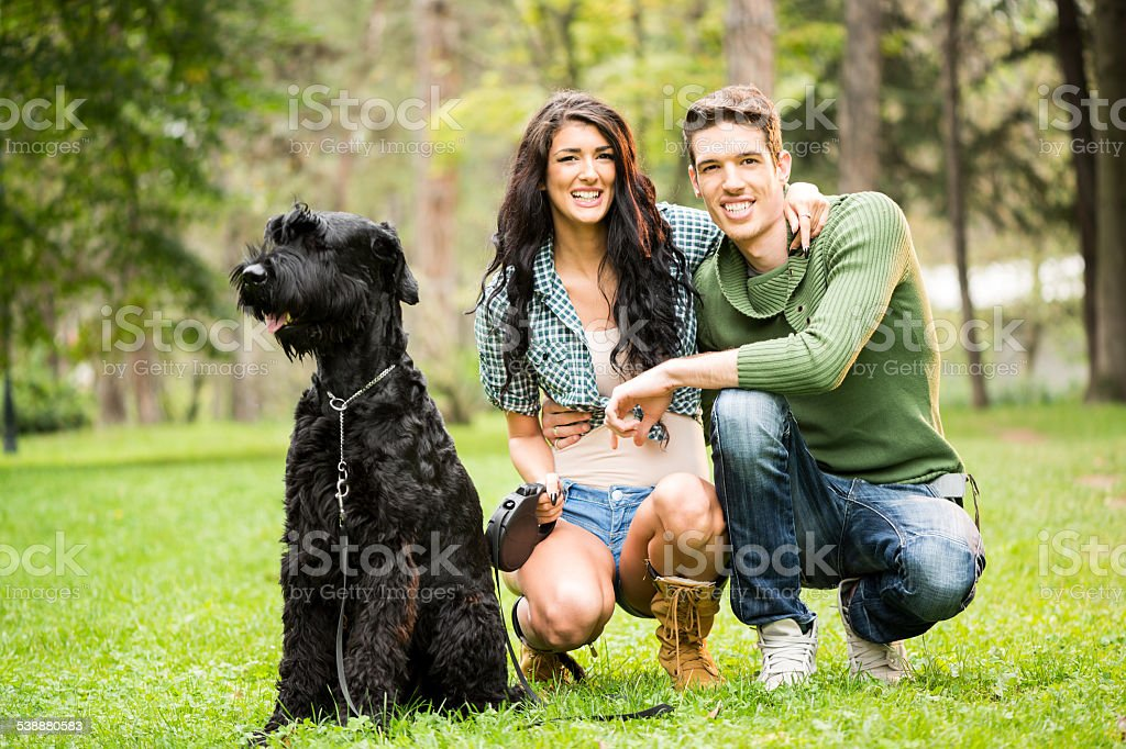 Young Couple With Black Giant Schnauzer stock photo