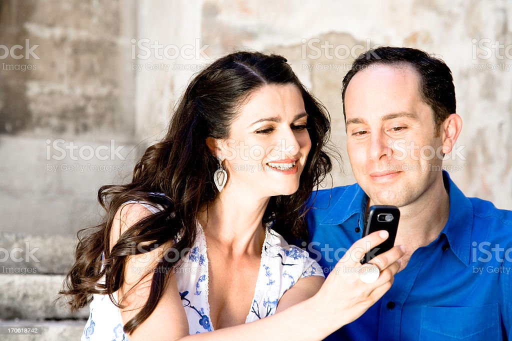 Young Couple with Cell Phone royalty-free stock photo