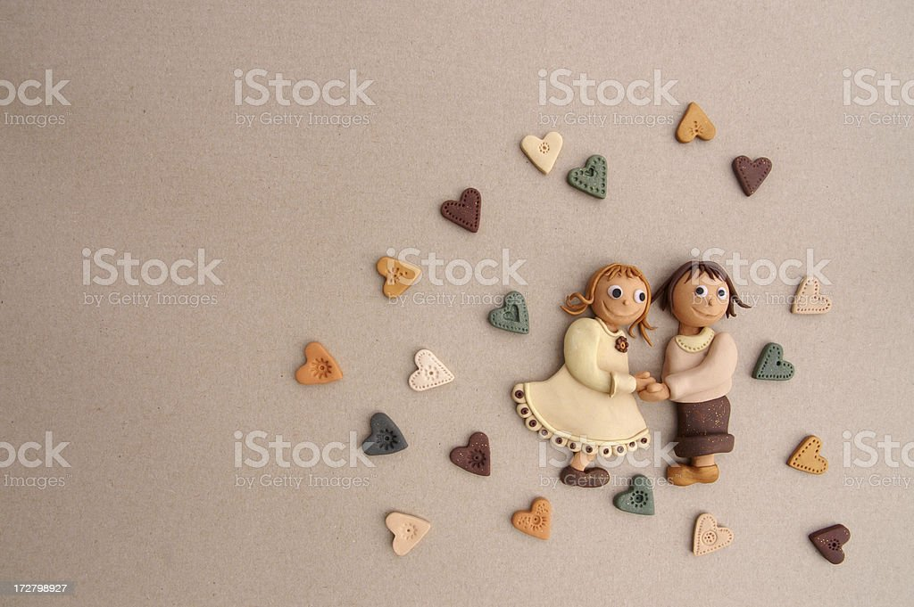 Young couple with hearts royalty-free stock photo